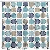Sunlit Design abstrakte Baumringe Muster Holz künstlerischen Stoff Duschvorhang. Natur Hellblau Teal Beige Hellbraun 180*180cm