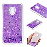 Alcatel U5 (4G) Case [with Free Tempered Glass Screen Protector] BoxTii� Glitter Liquid Flowing Mirror Case for Alcatel U5 (4G) 5044 5044D 5044Y, Floating Sparkle Shiny Protective Shockproof Cover Case (Purple)