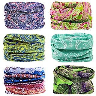 Seamless Multifunctional Headwear Bandana Scarf - 6 PCS Elastic Tube Magic Headband Gaiter Balaclava Face Mask UV Residence for Yoga Running Hiking Cycling