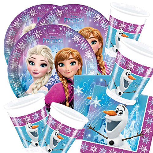 Preisvergleich Produktbild 52-teiliges Party-Set Disney Frozen Northern Lights - Teller Becher Servietten für 16 Kinder