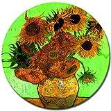 Bilderdepot24 Kunstdruck - Alte Meister - Vincent Van Gogh - Zwölf Sonnenblumen - Rund - 60 cm - Leinwandbilder - Bilder als Leinwanddruck - Bild auf Leinwand - Wandbild