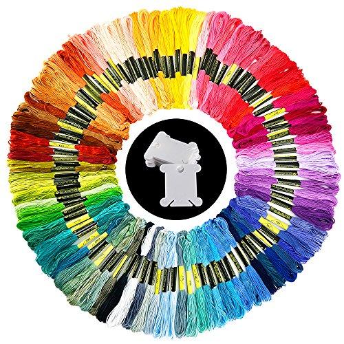 Pllieay 100 Stränge Stickgarn Zufällige Farben Baumwolle Embroidery Floss mit 12 Stücken Floss Spulen für Stricken, Kreuzstich Projekt
