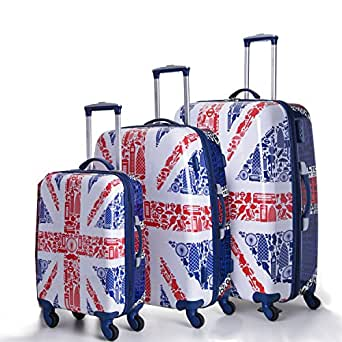 5 Cities Lightweight Hard shell Travel Luggage Suitcase- 4 Wheel Spinner Bag (3 PCS, GB Collection)