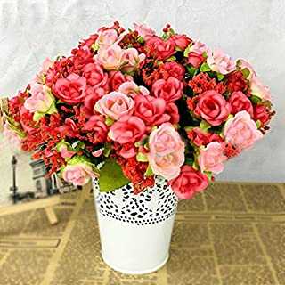 ALCYONEUS 1 Bouquet 21 Heads Fake Rose Flowers Artificial Floral Plant Wedding Party Decor (Pink)