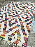 Namaste Baku weiß & Multi Farbe Geometrische grobe Baumwolle Flickenteppich Kilim Teppich (Fair Trade) 120cm x 180cm