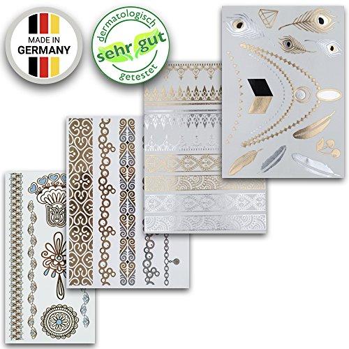 Tatuaggi temporanei in diversi disegni | adesivi rimovibili metallici in oro e argento | set di 4 fogli con 34 bellissimi tatuaggi - di ahimsa glow®