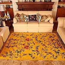 MeMoreCool American estilo campo Europea salón área Rugs alfombrillas de ordenador silla/sofá cama grande rolabond Maldivas amarillo dormitorio alfombra alfombras para el hogar sala de estar, alfombra rústico, tela, Amarillo, 160cm by 230cm