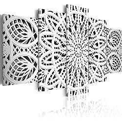 murando - Cuadro acústico Abstracto Mandala 200x100 cm - decoración de Pared - Lienzo 5 Piezas - Cuadros XXL - Panel de Pared - Silencio f-A-0581-b-n