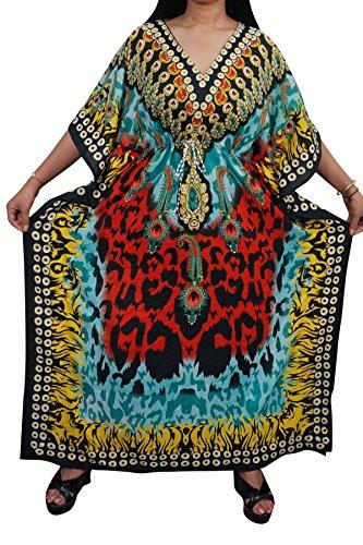 Indiatrendzs Women Bohemian Fashion Kaftans Viscose Kimono Long Kaftan Chest