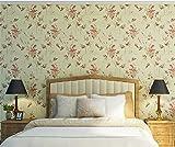 QXLML Tapeten Vliestapeten American Village Retro Nostalgie Idyllische Reis Blume Tapete Schlafzimmer Wohnzimmer TV Hintergrund Wand Papier 10 * 0.53 (M) ( Color : C )