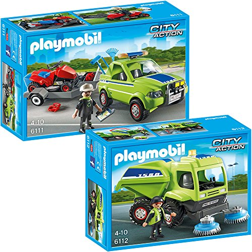 Preisvergleich Produktbild PLAYMOBIL City Action 2-teiliges Set 6111 6112 Service-Fahrzeug mit Rasenmäher + City-Kehrmaschine