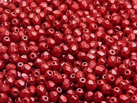 100pcs Tchèque facettes perles de verre, Fire-Polished Beads, ronde 4mm Chalk Lava Red