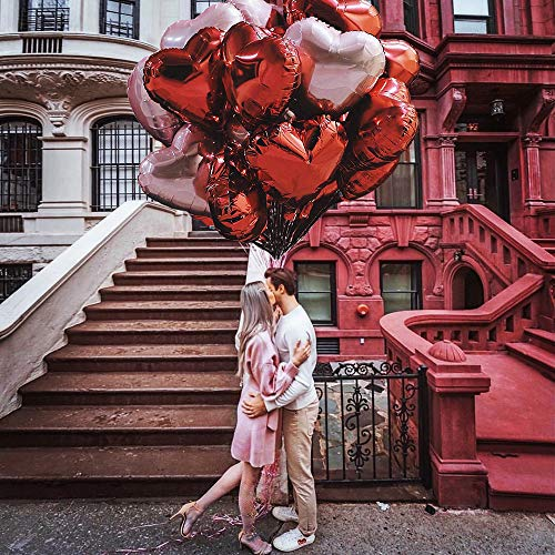 ORSIFOW Herz Folienballon Rosegold | Rot, 20 Stück Herz Helium Luftballons, Hochzeit Folienballon, Herz Ballons für Geburtstag, Brautdusche, Valentinstag | Inklusive 2 Bänder