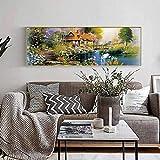 FSKV Soggiorno pittura decorativa divano sfondo muro orizzontale appeso pittura paesaggio naturale fotografia hotel club appeso pittura -150X40 CM