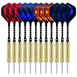 Sametop Dartpfeile 18 Gramm Dart 12 Stücke Metallspitze Steel Darts Set mit Veschiedenen Flights, Aluminum Schafts, Messing Barrels, Dart Point Spitzer
