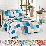 Dreamhome24 Sommer Baumwolle Renforce Bettwäsche Bettbezug 200x200 2x Kissenbezug 80x80 King, Farbe:BLAU