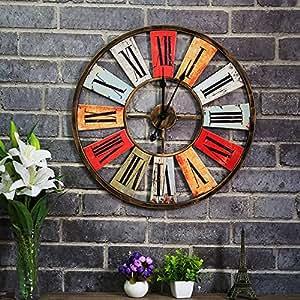 BABYQUEEN WALL CLOCK Ferro Da Stiro Orologio Da Parete American Bar Cafe Decorativo Decorazione A Parete Orologio A Muro Di Ferro Silenzioso Vintage Orologio Design Industriale