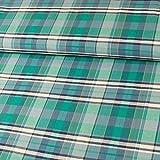 Stoffe Werning Flanell Baumwolle Karo Grün Blau