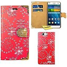 Huawei Ascend G7 Funda, FoneExpert® Diamante Bling Wallet Flip Billetera Carcasa Cover Case Funda de Cuero Para Huawei Ascend G7 (Rojo)