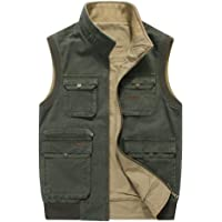 ZTJ-Lighting Men's Vest Outdoor, 100% Nylon Sleeveless Top Jacket with Multi Pocket, Casual Waistcoat for Camping…