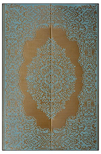 Istanbul - Fair Aqua & Golden Plastic Floor Mat Plastic Chatai (4' x 6') Medium
