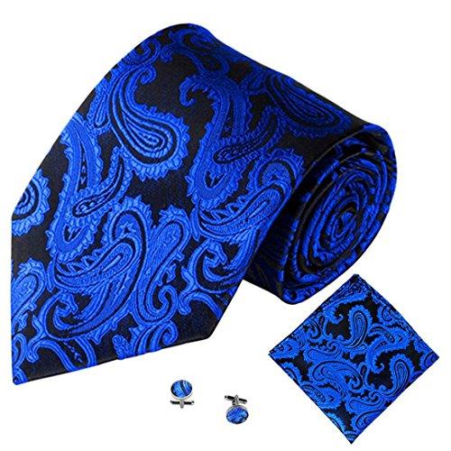 Rosa Hemd, Blaue Krawatte (SOMESUN Gewebtem Jacquard Herren Krawatten Taschentuch Manschettenknopf 3PCS Paisley Cashew Taschen (blau #2))