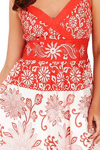Pistaches Femmes Coeur Floral Ou Doré Imprimé Croisé Robe Mi-longue Corail