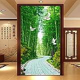 Wandgemälde Custom Any Size 3D Wandbild Tapete Bambus Wald Wohnzimmer Eingang Hintergrund Wandverkleidung Fototapete,250Cm(H)×360Cm(W)