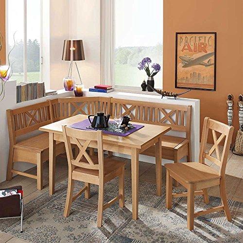 Pharao24 Essecke aus Buche Massivholz mit ausziehbarem Tisch