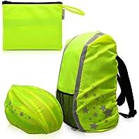 kwmobile Regenschutz Set für Helm Rucksack - Helmüberzug Regenhülle Schulranzen Helmschutz - Schutzhülle Fahrradhelm…