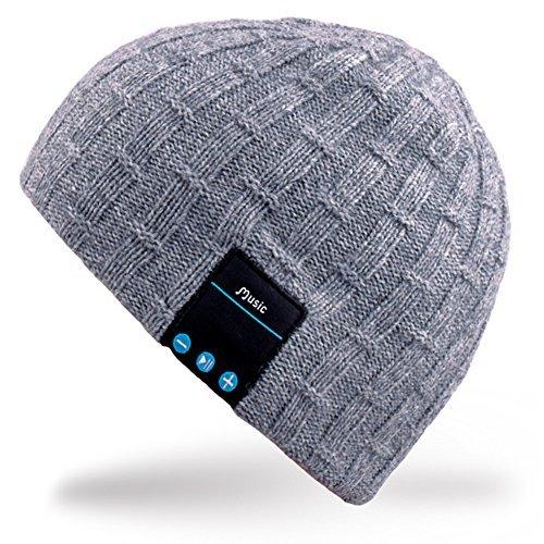 Rotibox Washable Bluetooth Beanie Warm Soft Winter gestrickt Trendy Short Skully Hut Mütze mit Wireless Kopfhörer Headset Kopfhörer Speakerphone Mic, Geschenk für Outdoor-Sport Skating Wandern Camping - Grau Mic Zubehör