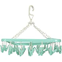 Kuber Industries Clip and Drip Hanger - Hanging Drying Rack - 32 Clips (Green)-KUBMART15538