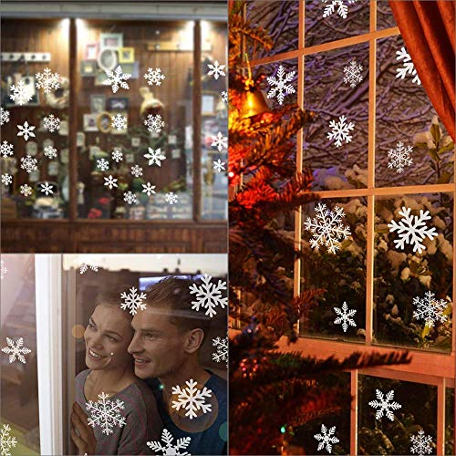 IWILCS 216 pcs Snowflake Sticker, Window Clings Static Decal Static Snow Flakes PVC Stickers for Christmas Window Decorations,Xmas Ornaments,Winter Wonderland, 8 Sheets -