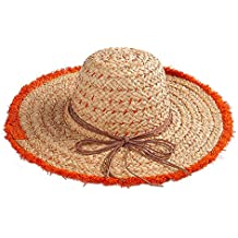Aszhdfihas Cappello da Spiaggia Lady Big Bowknot Pure Colour Primavera Estate  Cappello di Paglia Sunblock Cappello f2f16495d70f