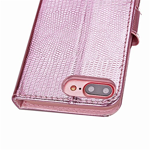 iPhone 7 Plus PU Lederhülle Tasche,iPhone 7 Plus Hülle Case,Ekakashop iPhone 7 Plus Bookstyle Flip Schale Weichen Silikon Schutzhülle Klapptasche Etui,Retro Rosa Glitzer Muster Handy Hülle Tasche Prot Rose Perle Rahmen