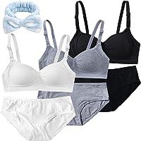 Reggiseni per Ragazze Adolescenti in Cotone Traspirante Senza Ferretto Sportivo Reggiseno+Bikini per Bambine 12-18 Anni…