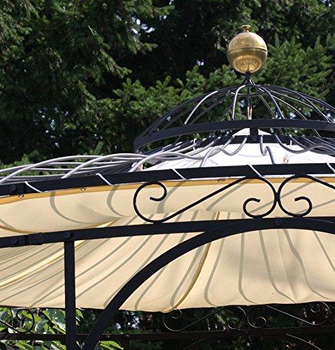 ELEO Florenz runder Eisenpavillon mit Sonnensegel, Ø 3,7 Meter (Oberfläche: anthrazit duplexbeschichtet) - 3