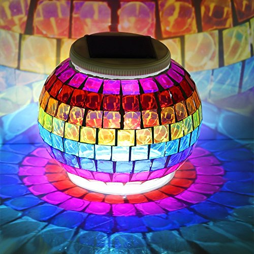 GRDE® Solar Powered Mosaic Solar Lights LED Magic Sunshine Ball Colour Changing Lovely Night Lights Party Lights, Weatherproof Crystal Glass Globe Ball, Best Table Lamps for Bedroom, Party, Garden, Patio, Yard, Colorful Outdoor / Indoor Decoration Led Lig