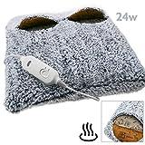 PrimeMatik - Heizkissen Elektrische Wärmekissen mit Löchern für Füsse Einstellbarer Temperatur 24W Grau 38x38cm