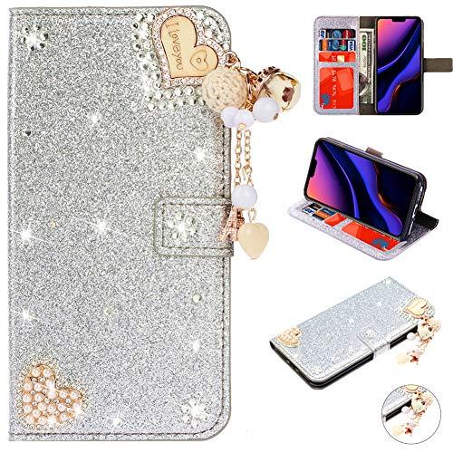 Bookstyle Bling für Samsung M20,Glitter Glitzer Diamond Musterg Slim Retro Klassisch Modisch Magnet Leder Stand Funktion Kartenfach Flip Wallet