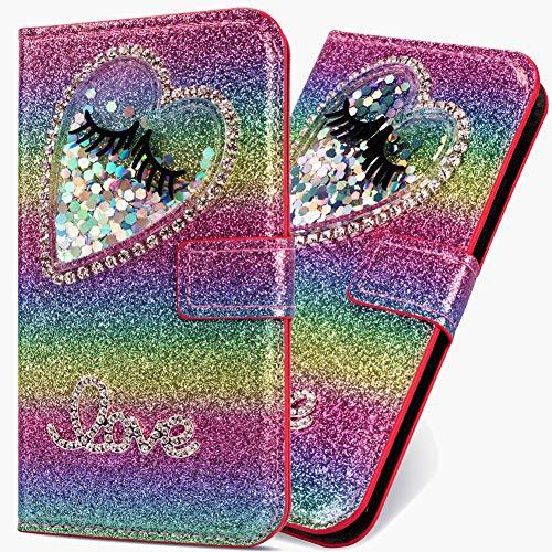 6City8Ni Klassisch Slim Ledertasche Hülle für Huawei P30 Lite,BookStyle Bling Glitzer Flüssig Diamant Schutzhülle Scratch Bumper Flip Folio Wallet Stand Card Slots Pocket Magnetverschluss Leder Etui Handy-cover Rainbow Glitter