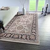 Traditioneller Klassischer Teppich für Ihre Wohnzimmer - Creme Schwarz Beige - Perser Orientalisches Muster - Ferahan-Ziegler Ornamente - Top Qualität Pflegeleicht