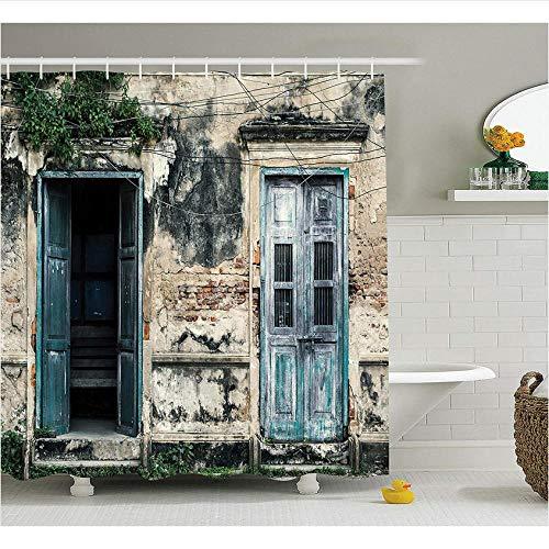 Rustikale Französische Türen (XQWZM Rustikale Duschvorhang-Türen eines Alten Felsen-Hauses mit französischen Rahmen-Details im Landschafts-europäischen letzten Gewebe-Badezimmer)