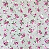 Beige Kleine Rose Baumwolle Rich Leinen Look Stoff für