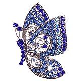 Papillon Broche en Cristal et Strass Bijoux Des Femmes pour Mariage et Autres Occasions - Bleu