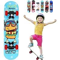 Lesgos Planches à roulettes Standard pour débutants, Planches à roulettes complètes de 22 Pouces avec Construction en érable à 9 épaisseurs pour Enfants Garçons Jeunes Débutants