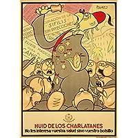 Vintage Spanish Civil War 1936–39Propaganda Flee from the Charlatans. rilasciato da il direttore di salute generale a Sconsigliare Ciarlatanerie 250mq Art poster A3riproduzione lucida