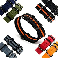 CIVO Heavy Duty G10 Zulu Military Watch Bands NATO Premium Ballistic Nylon Watch Strap 5 Black Rings with Stainless Steel Buckle 20mm 22mm 24mm (black pumpkin, 24mm)