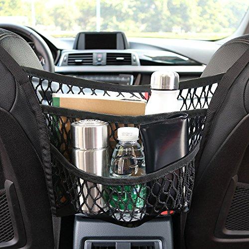 Auto Netz, Auto Gepäcknetz, Schutznetz und Organizer Tasche Halter, 2D Schnallen und 2Haken, 3 Schichten netztasche, Haustiere und Kinder Stopper für Universal Fahrzeugtypen (11.8*11.4in)