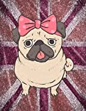Notebook: Cute Pug Dog, Pink Striped Pattern Glitter Effect Notebook for Girls, Large - Best Reviews Guide